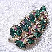 Exquisite Rhinestone Pin - Green with Pink and Diamante Rhinestones