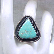 Native American Sterling and Turquoise Ring - Size 5
