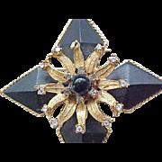 Elegant Hattie Carnegie Pin/Pendant - Black with Diamante Rhinestones