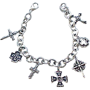 Sterling Silver Charm Bracelet with 7 Crosses