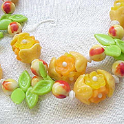 08 - Plastic Flower Necklace - Hong Kong - Orange, Apricot - so Fun!