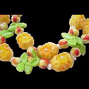 08 - Plastic Flower Necklace - Hong Kong - Orange, Apricot - so Fun!