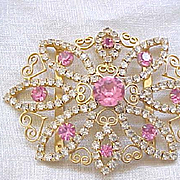 01 - Juliana Rhinestone Buckle Metal Accents - Pink and Diamante