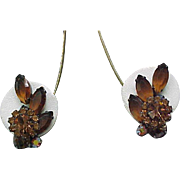 10 - Juliana Ear Climber Earrings - Rhinestone Flower Topaz