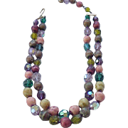 10 - Amazing 2 Strand Necklace Natural Stones, Glass Crystals - Multi Color