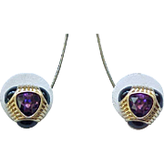 09 - Superb Swarovski Earrings - Purple Rhinestones, Black Enamel