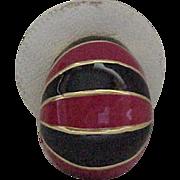 09 - Ciner Black and Red Enamel Earrings - Clips