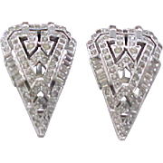 Pair KTF Rhinestone Dress Clips - Art Deco