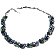 Outstanding Lisner Rhinestone Necklace - Shades of Blue and Aqua