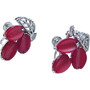 10 - Lisner Moonglow Pin/Pendant and Earrings - Raspberry and Silvertone