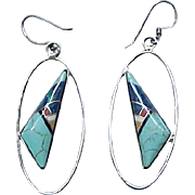 Lovely Zuni Sterling and Turquoise Earrings - Pierced Ears