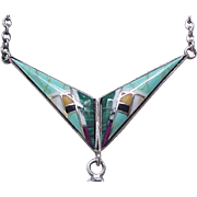 Lovely Zuni Sterling and Turquoise Necklace