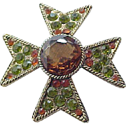 Spectacular Rhinestone Maltese Cross Pin Brooch BSK