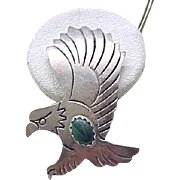 Sterling Silver Eagle Earrings - Malachite - Pierced Ears