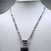 Chunky Black Onyx & Sterling Pendant & Chain