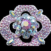Glamorous Pink & Blue Aurora Borealis Rhinestone Brooch