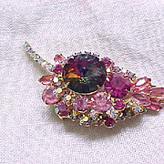 Juliana Pink Leaf Pin with Rivoli and Aurora Borealis Rhinestones