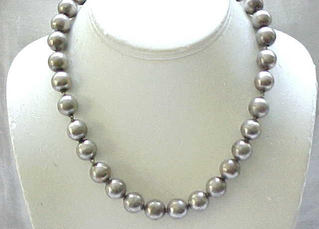 Sterling Silver Bead Necklace - Like Navajo Pearls