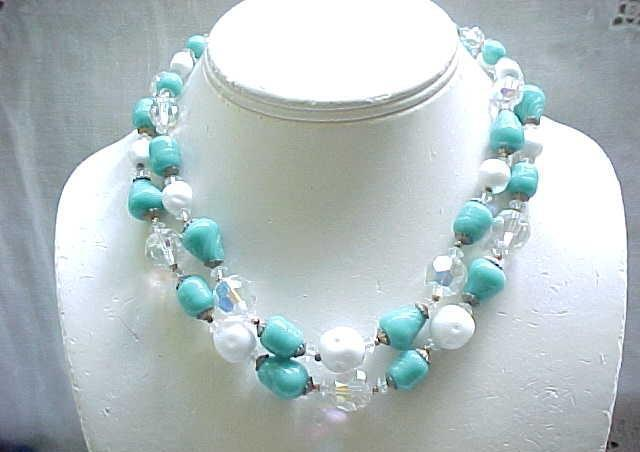 06 - Spectacular Vendome Parure - Necklace, Bracelet, Earrings - Turquoise, White and Crystal