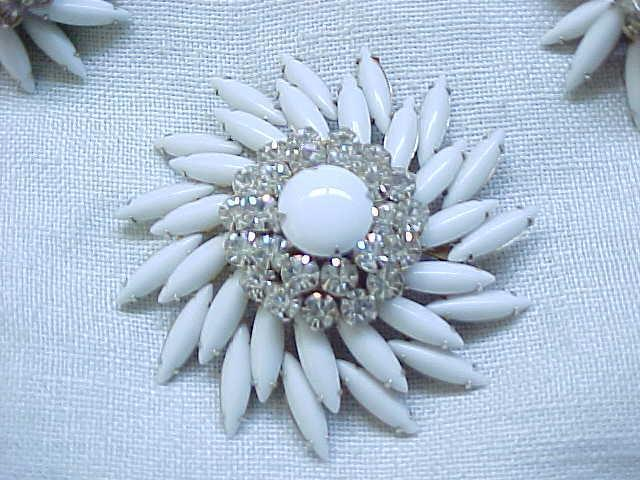 Superb Judy Lee White & Rhinestone Brooch,  Earrings