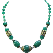01 - Exquisite Czech 1930's Necklace Green Glass Beads