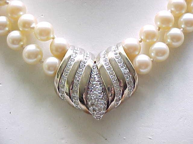 Elegant Panetta Faux Pearl 2 Strand Necklace with Rhinestone Centerpiece