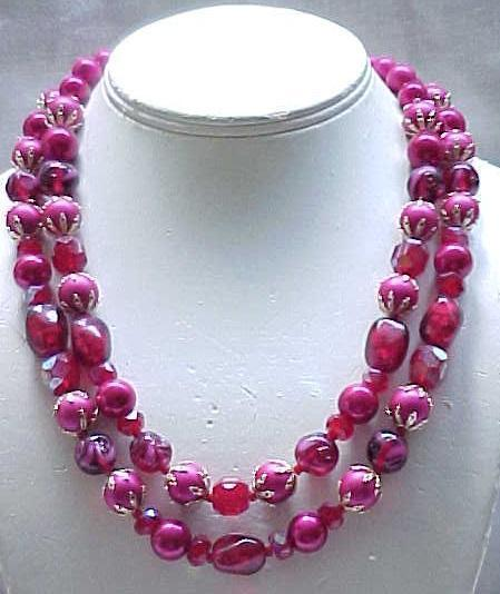 Raspberry Art Glass & Moonglow Necklace & Earrings - Interesting Beads