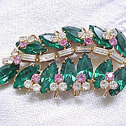 Superb Rhinestone Pin/Pendant - Emerald Green Navettes, Diamante Baguettes