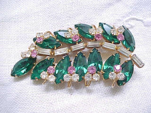 Superb Rhinestone Pin/Pendant - Emerald Green Navettes, Diamante Baguettes