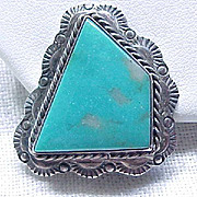 Impressive Native American Sterling & Turquoise Earrings - Clips