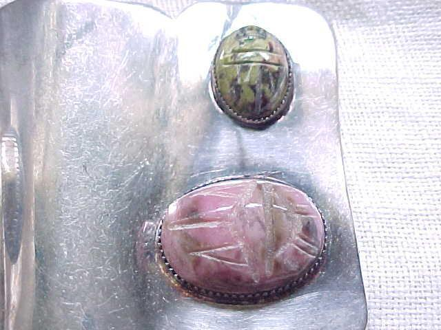 03 - Huge Modernist Brooch with 3 Scarabs - Natural Stone - Very Unusual - Must See