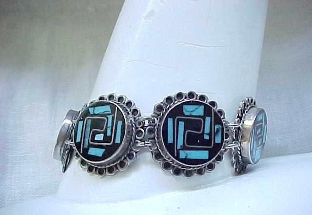 Sterling Bracelet Inlaid with Onyx & Turquoise & Silver Wire