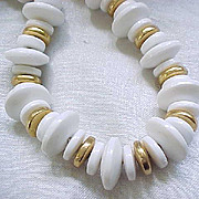 Incredible Les Bernard Long White & Goldtone Necklace