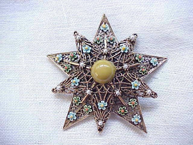 Exquisite Star Shaped Pin Filigree with Enamel Flowers & Faux Pearls