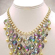 Glitzy Bib Necklace Tourmaline Rivoli Rhinestones,  Drop Earrings, Book Chain