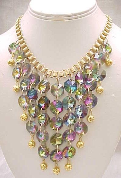 Glitzy Bib Necklace Tourmaline Rivoli Rhinestones,  Drop Earrings, Book Chain