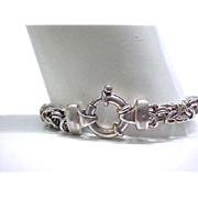 Good Looking Sterling Bracelet with Large Spring Ring Clasp