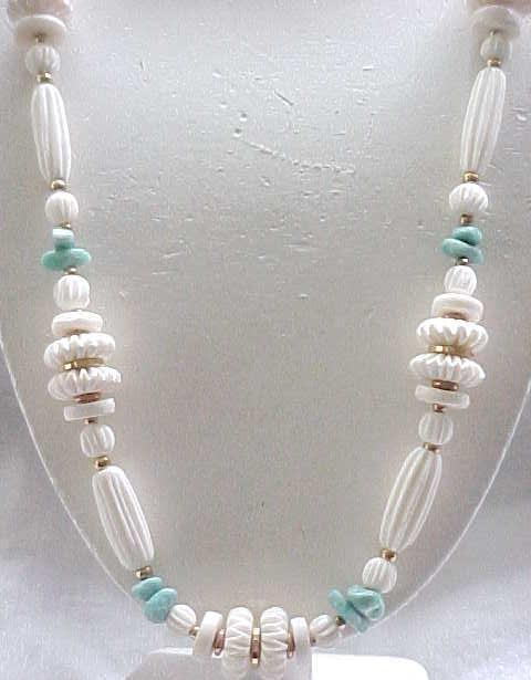 Exquisite Miriam Haskell Necklace Carved Soapstone Beads, Turquoise Accents