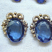 Versatile Czech Fur Clips/Pendant and Earrings - Royal Blue Rhinestones