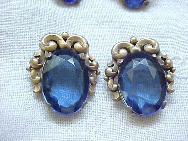 Versatile Czech Fur Clips/Pendant and Earrings - Royal Blue Rhinestones
