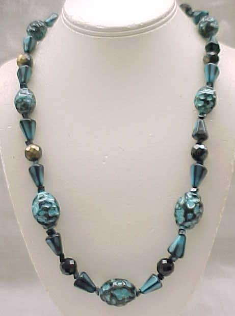 12 - Dramatic Teal and Black Necklace