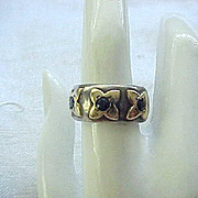 Sterling Silver & 14K Gold Ring - Size 7