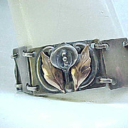 Outstanding Sterling Silver and Gold Filled Calla Lily Bracelet