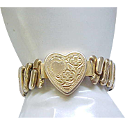 Sweetheart Expansion Bracelet - Heart Center - Gold Filled