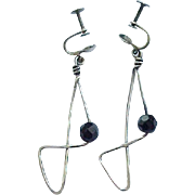 09 - Mod Sterling Wire Earrings with Black Beads