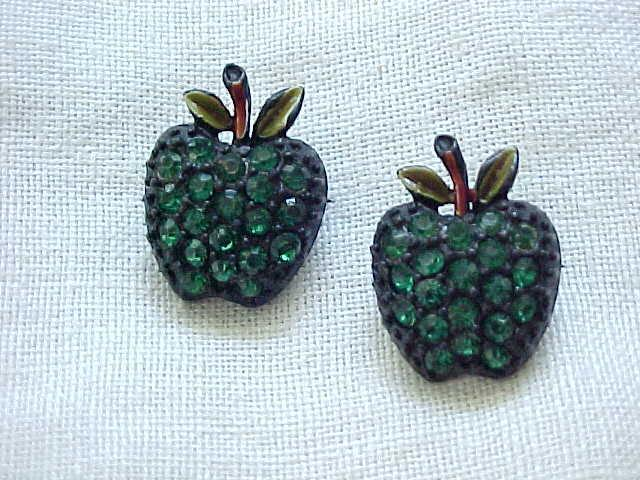 10 - Green Apple Rhinestone Scatter Pins - Japanned Back