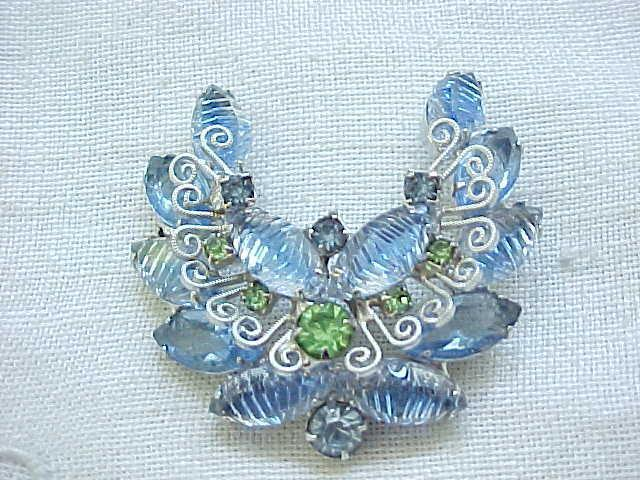Juliana Molded Glass Pin and Earrings - Metal Accents