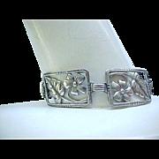 Lovely 1940's Sterling Silver Picture Frame Bracelet