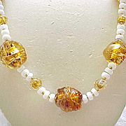 Necklace Venetian Foiled Beads, All Glass - Gorgeous