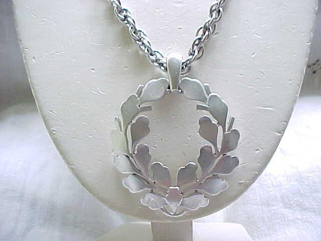 Crown Trifari Brushed Silvertone Pendant Necklace